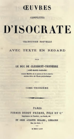 Isocrate : oeuvres complètes, tome III