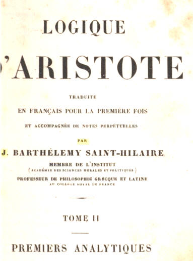 Aristote : Premiers analytiques